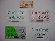 Commuter tickets of Japanese railways.