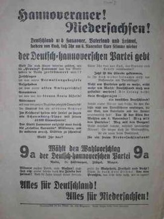 German-Hanoverian Party - 1932 election poster of the party