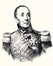 Black and white print of a balding man with heavy-lidded eyes. He wears an elaborate military uniform with high collar, sash, and epaulettes