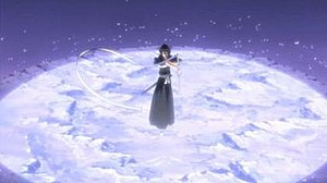 "Rukia Kuchiki - Rukia using the ""first dance, white moon"" ability of Sode no Shirayuki's shikai."