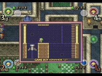 The Legend of Zelda: Four Swords Adventures - Screenshot depicting the GBA-link feature