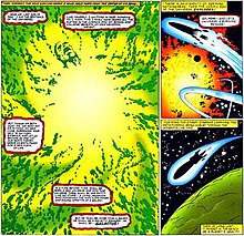 Comic-book page, with green and orange explosions