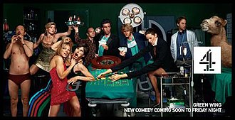 Green Wing - The main characters in Green Wing. From left to right, Alan (Heap), Joanna (Haywood), Angela (Alexander), Caroline (Greig), Martin (Theobald), Guy (Mangan), Mac (Rhind-Tutt), Sue (Gomez) and Boyce (Chris)