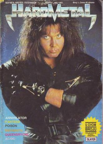 Hard Metal (magazine) - Cover of the first issue, featuring Blackie Lawless