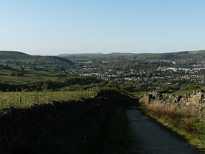 Alden Valley - A view from near the top of Robin Hood's Well.  Pendle Hill is just visible in the background.
