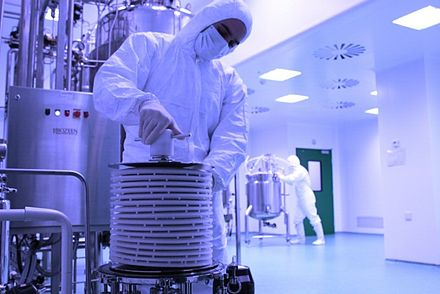 The production line for AryoSeven at the Iranian biopharmaceutical company of AryoGen. Inside Aryogen.jpg