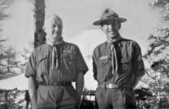 Michiharu Mishima - J. S. Wilson and Michiharu Mishima, Chief Scout of Japan, at the national training camp at Lake Yamanaka, on the slopes of Mount Fuji, December 1952