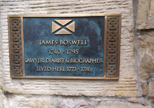 A commemorative plaque to Boswell at his former home at James Court, Lawnmarket, Edinburgh. JamesBoswellPlaque.png