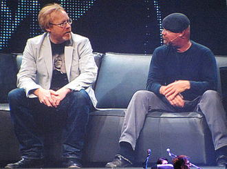 MythBusters - Savage (left) and Hyneman as keynote speakers at Symantec Vision 08