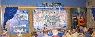 Winnipeg Falcons - Unveiling of prominent display at MTS Centre, Winnipeg.)