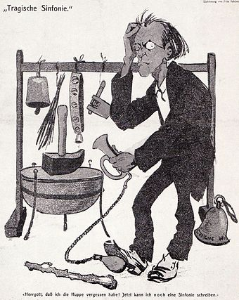 "A satirical comment on Mahler's Sixth Symphony. The caption translates: ""My God, I've forgotten the motor horn! Now I shall have to write another symphony."" Mahlercartoon 1907.jpg"
