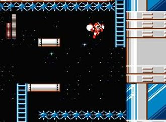 Mega Man 6 - Using one of two adaptors, Mega Man combines with Rush to propel through the air, seen in the first stage of Mr. X's Fortress.