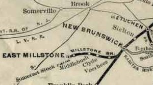 Millstone and New Brunswick Railroad - The Millstone Branch as shown on a map created by the Pennsylvania Railroad in 1911