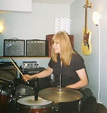 Miriam Linna drumming during a 2007 recording session.