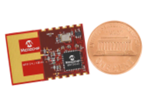 MiWi - MiWi module produced by Microchip Technology beside a 1 cent coin.