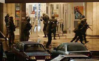 Moscow theater hostage crisis - Russian special forces storm the Dubrovka Theater during the 2002 Moscow hostage crisis.