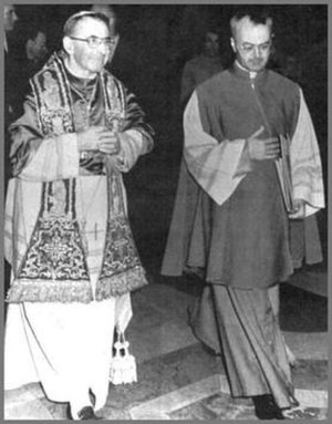 Papal conclave, August 1978 - The newly elected Pope John Paul I (on left), with Monsignor Virgilio Noè, then Papal Master of Ceremonies.
