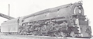 Pennsylvania Railroad class Q1 - The Q1 seen from a similar angle, but with most of its streamlining gone. The intricate workings of the duplex drive are easy to see.