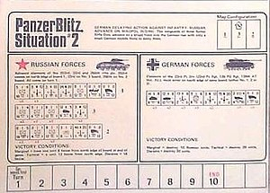 PanzerBlitz - One of many situation cards that tell players how to arrange board and which game pieces to use