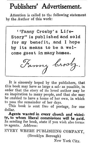 Publisher's Advertisement in Fanny Crosby's Li...
