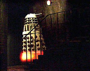 "Dalek - An Imperial Dalek flies up a flight of stairs in ""Remembrance of the Daleks""."