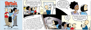 Retail (comic strip) -  Stuart makes a presentation in which Josh, Val, Marla and Cooper are visible seated in the front row of the first panel
