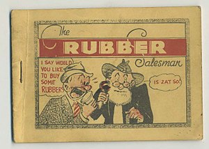 "Tijuana bible - ""The Rubber Salesman"" (ca. 1935), drawn in the hand of ""Elmer Zilch"", showing the ""Ornate Border"" design."
