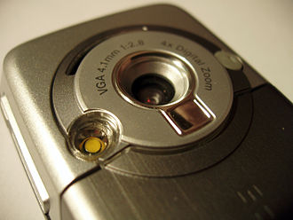 Sony Ericsson K700 - Camera lens and flash light close-up of the K700i.