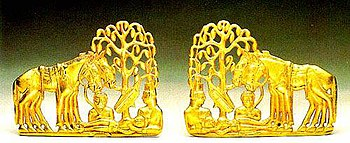 Golden plaques representing the resurrection of a dead hero (Saka culture, 5th century BC, Hermitage Museum).