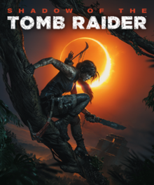 Cover artwork featuring Lara Croft in front of a solar eclipse