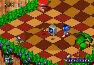 Sonic 3D Blast - Sonic stands by a shield power-up. Sonic 3D Blast features elements similar to that of previous Sonic games, but viewed from an isometric perspective.