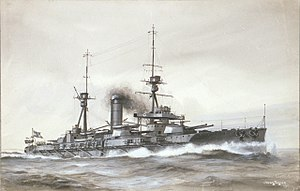 Spanish battleship España - Image: Spanish battleship Espana illustration by Parkes