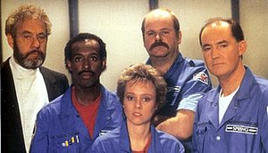 Star Cops - The cast of Star Cops. Left to right: Jonathan Adams, Erick Ray Evans, Linda Newton, Trevor Cooper and David Calder
