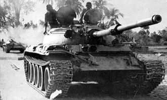 Indo-Pakistani War of 1971 - Indian T-55 tanks on their way to Dhaka.