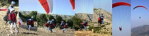 Tandem paraglider launch