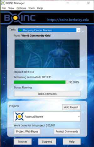 World Community Grid - The client software's status window, displaying information about the work currently being done in the background. This particular computer is 60.3% complete with its current workunit. When it reaches 100%, it will start on a new workunit and the results of the previous workunit will be transmitted back to WCG.