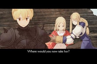 Final Fantasy Tactics: The War of the Lions - One of the new cutscenes in The War of the Lions. The developers chose to go with cel-shaded animation, giving the impression of pencil-drawn imagery.