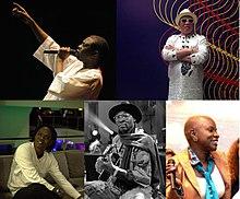 Collage de cinq images représentant Youssou N'Dour, Salif Keita, Angélique Kidjo, Ali Farka Touré et Baaba Maal, dans le sens des aiguilles d'une montre à partir du coin supérieur gauche
