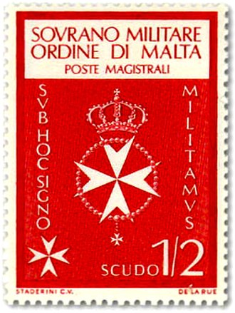 Postage stamps and postal history of the Sovereign Military Order of Malta - A stamp from the first series of SMOM stamps issued in 1966