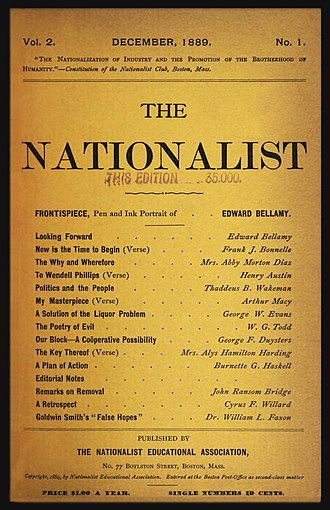 The Nationalist (United States) - Cover of The Nationalist for December 1889. A publisher's rubberstamp on the cover indicates a print run of 35,000 copies for the issue.