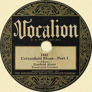 "Garfield Akers - ""Cottonfield Blues—Part 1,"" Vocalion Records label, 1929"