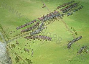 "Battle of Castagnaro - ""Aerial perspective of the battle of Castagnaro showing the Paduan army, commanded by Sir John Hawkwood, outflanking and defeating the Veronese."""