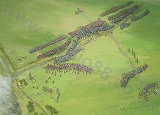"""Battle of Castagnaro - """"Aerial perspective of the battle of Castagnaro showing the Paduan army, commanded by Sir John Hawkwood, outflanking and defeating the Veronese."""""""