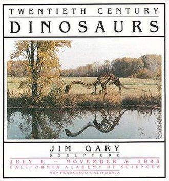 Jim Gary - Poster for 1985 solo show of Jim Gary's Twentieth Century Dinosaurs at the California Academy of Sciences that ran from July 1 to November 3