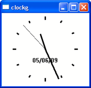 IP Pascal - Example: Graphical clock in a sizable window.