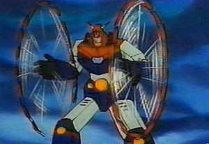 Chōdenji Robo Combattler V - Combattler V unleashing one of its weapons, the Choudenji YoYo.