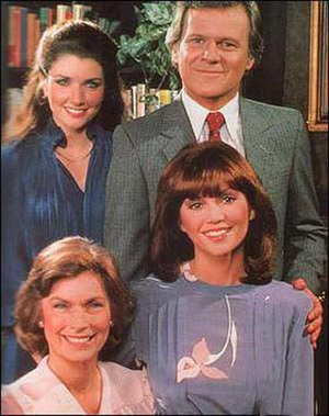 Dallas (1978 TV series) - The Barnes-Wentworth family.  Clockwise from top right: Cliff Barnes, Pamela Barnes Ewing, Rebecca Barnes Wentworth, and Katherine Wentworth.