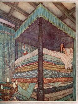 4d88358e93f Edmund Dulac - Princess and pea.jpg. 1911 Illustration by Edmund Dulac.  Author, Hans Christian Andersen