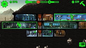 Fallout Shelter - Ant farm view. Vault resources are shown along the top of the screen. A notification appears when a room produces resources.