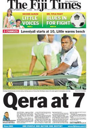 Fiji Times - Front page on September 16, 2011. The main headline is Fiji's participation in the 2011 Rugby World Cup.